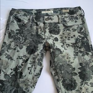 Grey Floral Mavi Pants Low Rise Super Skinny
